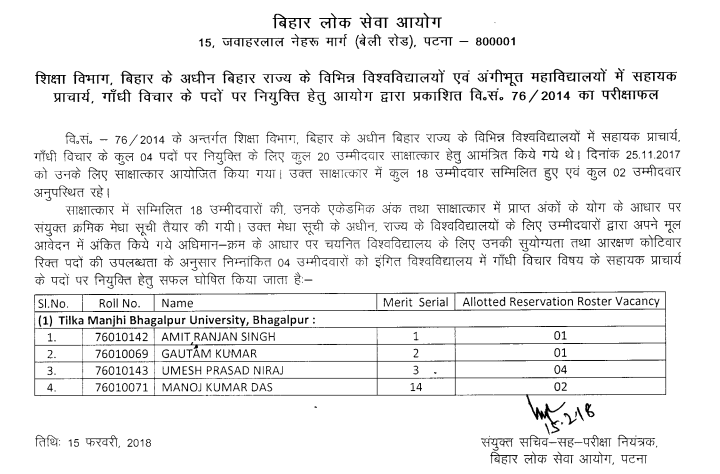 BPSC Assistant Professor Answer Key