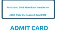 JSSC Field Clerk Admit Card